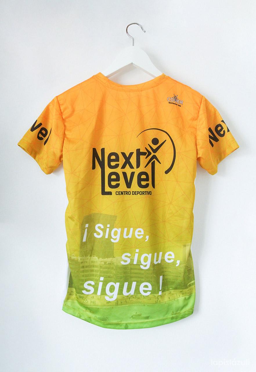 Imagen de camiseta deportiva para Next Level Canarias. Diseño trasero.