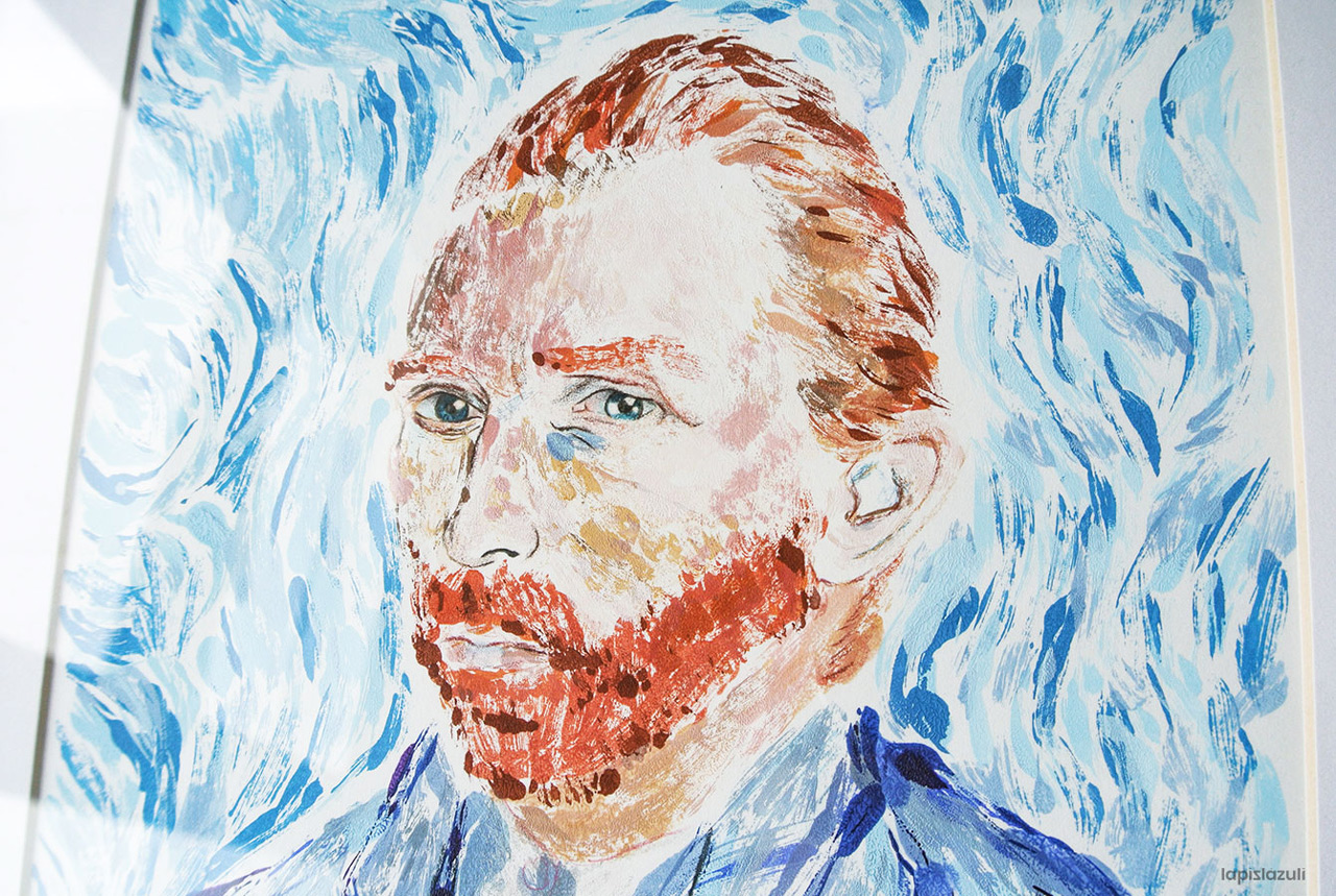 Plano detalle de la monotipia del autorretrato de Van Gogh