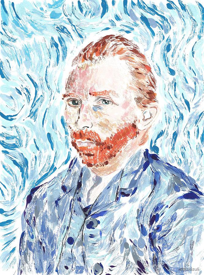 Monotipia del autorretrato de Van Gogh