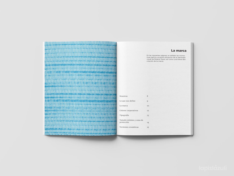 Portadilla e índice de cada sección del manual